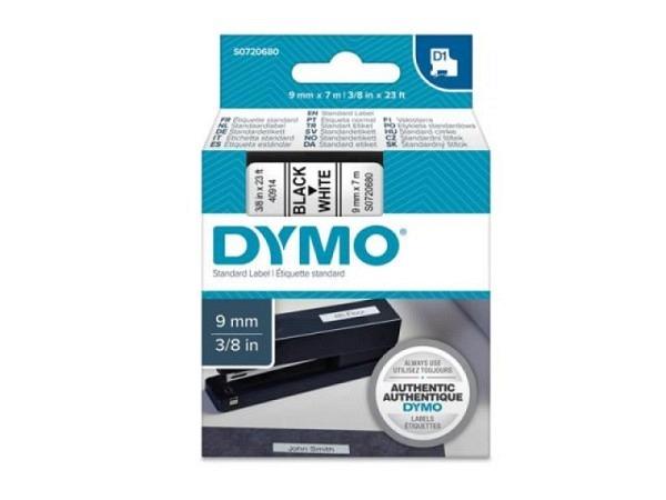 Beschriftungsband Dymo 9mm breit schwarz auf weiss, 7m lang