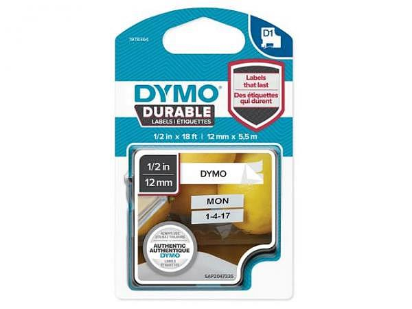 Beschriftungsband Dymo Vinyl D1 12mm weiss auf schwarz