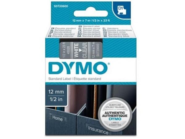 Dymo Band 12mm weiss auf transparent 45020