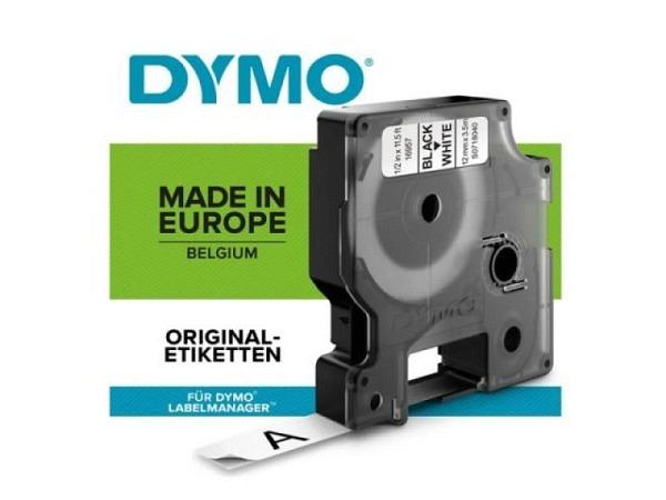 Beschriftungsband Dymo 12mm breit schwarz auf transparent