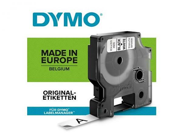 Beschriftungsband Dymo 12mm breit schwarz auf weiss, 7m lang