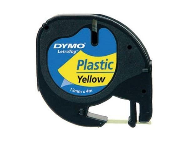 Beschriftungsband Dymo Letra Tag 12mm breit hypergelb-transp
