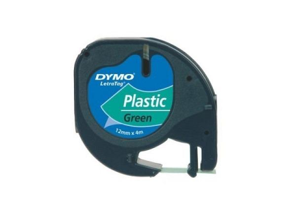 Beschriftungsband Dymo Letra Tag 12mm breit grün auf transp