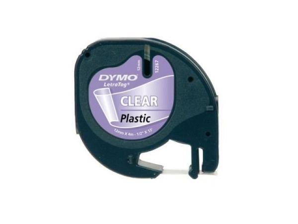 Beschriftungsband Dymo Letra Tag 12mm schwarz auf transparen