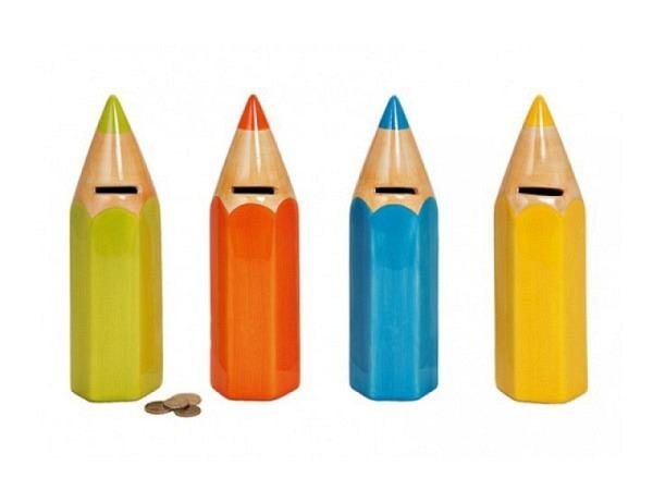 Geldkassette Farbstift farbig assortiert, glasiertes Keramik