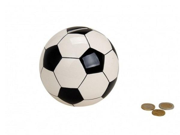 Geldkassette Fussball schwarz-weiss rund 13cm