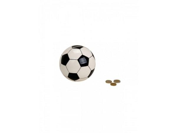 Geldkassette Fussball rund, schwarz weiss, Keramik 11cm hoch