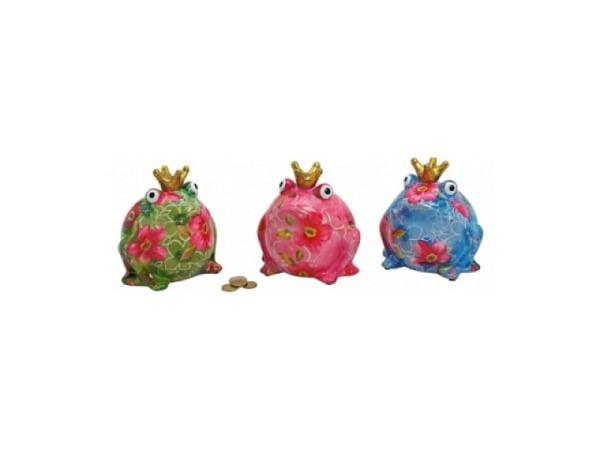 Geldkassette Frosch mit Krone farbig assortiert pinke Blumen