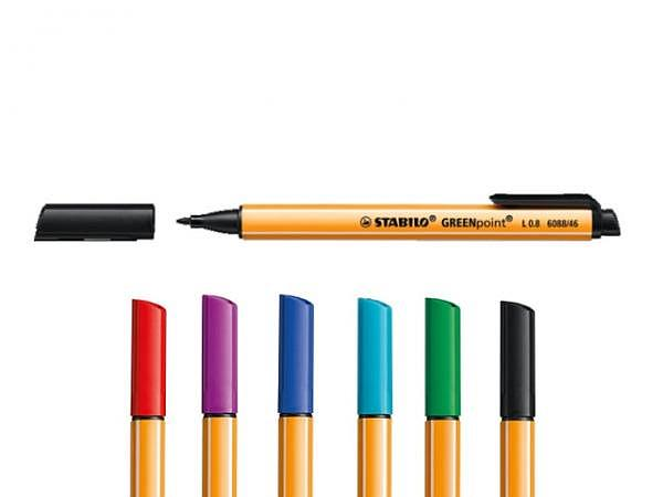 Filzstift Stabilo Green Point 0,8mm, Faserspitze, Stift im Taschenformat mit Clip in der Tintenfarbe