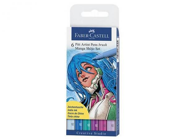 Pinselstift Faber-Castell Pitt Artist Pen 6er Set Manga Shojo