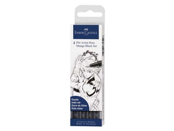 Pinselstift Faber-Castell Pitt Artist Pen 4er Set Manga Black