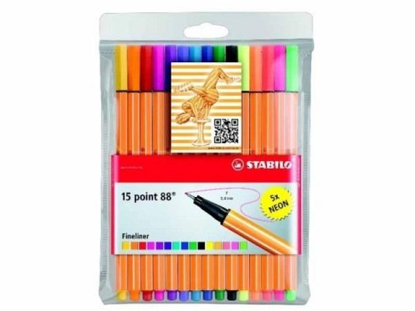Filzstift Stabilo Point 88 Set 15er inkl 5 Neonfarben