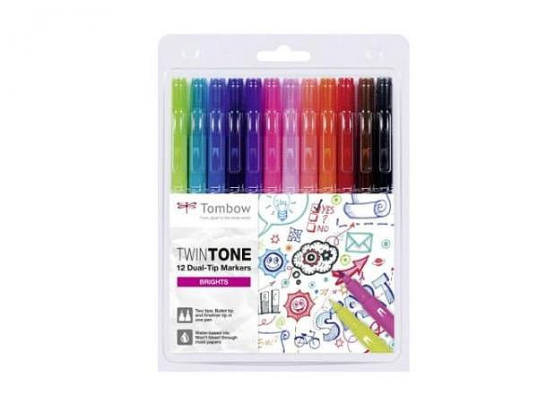 Filzstift Tombow TwinTone Bright Colors 12er Set