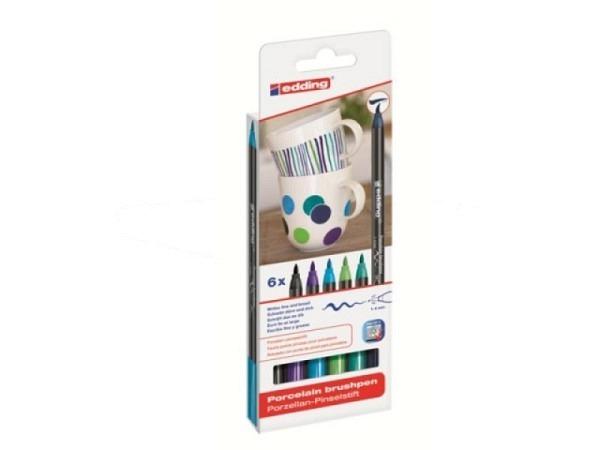 Filzstift Edding 4200 Porzelan Pinselstift 6er Set Cool