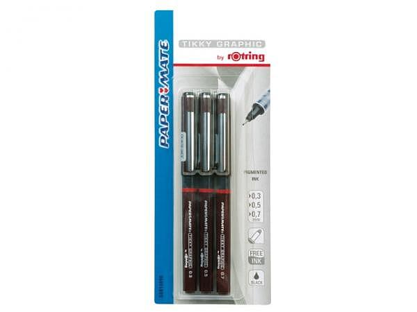 Filzstift Rotring Fineliner, Set schwarz 0,1/0,3/0,5mm