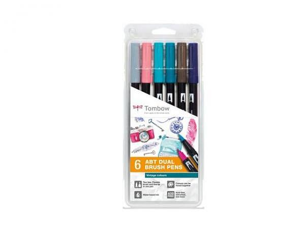 Filzstift Tombow ABT Dual Brush Pen Set 6er Vintage Colors