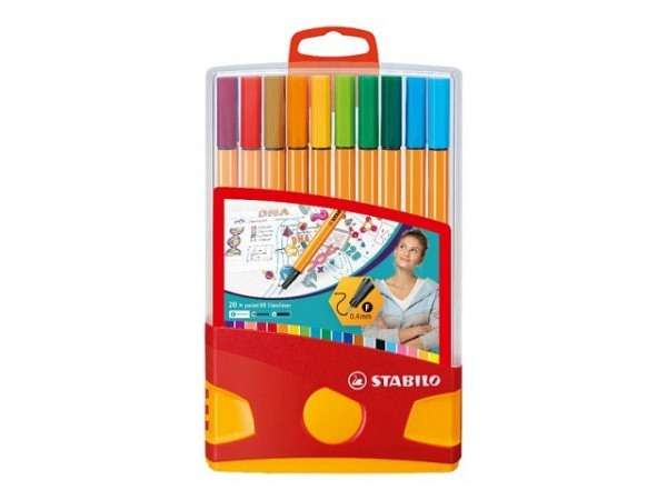 Filzstift Stabilo Point 88 Set Zebrui Box 20Stk. 0,4mm