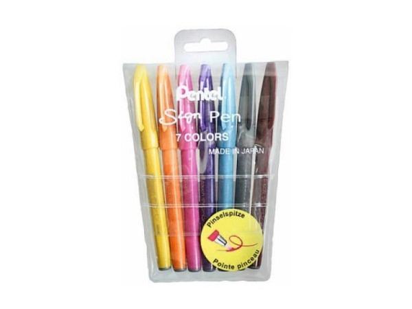 Pinselstift Pentel Brush Sign Pen 7er Set, mit Pinselspitze