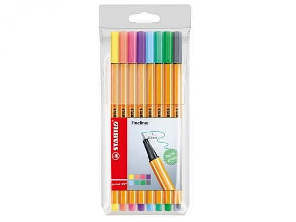 Filzstift Stabilo Point 88 Set Pastell 8 Stk 0,4mm