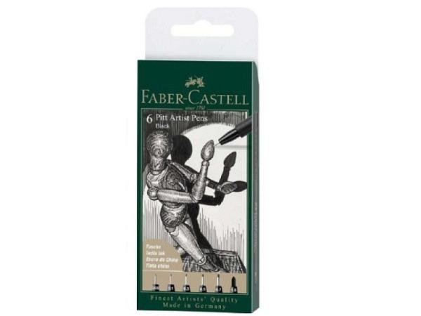 Filzstift Faber-Castell Pitt Artist Pen 6er Set schwarz