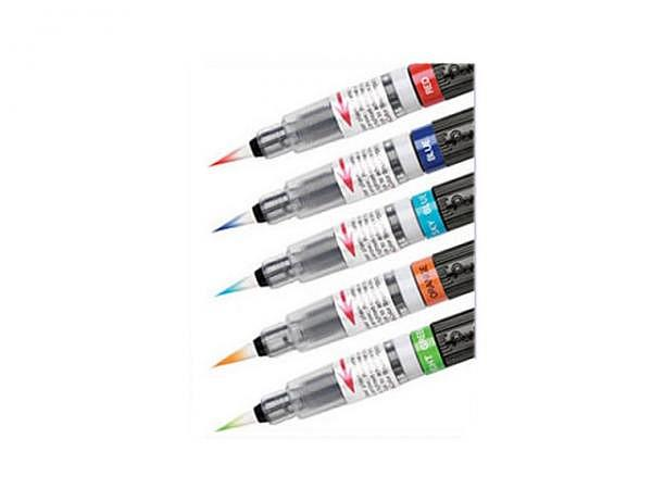 Pinselstift Pentel Color Brush 5er schwarz rot blau grün gelb
