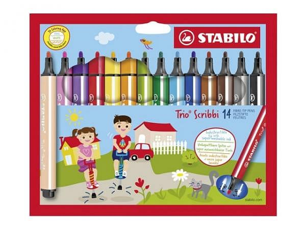 Filzstift Stabilo Trio Scribbi 14er Set Fasermaler
