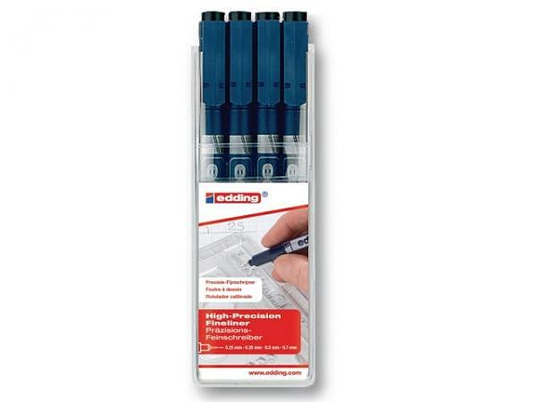 Filzstift Edding 1880 High-Precision Fineliner schwarz 4er Set