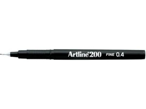 Filzstift Artline 200 schwarz 0,4mm mit feiner Plastikspitze