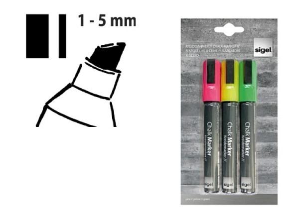 Filzstift Sigel Kreidemarker 50 1-5mm 3er Set
