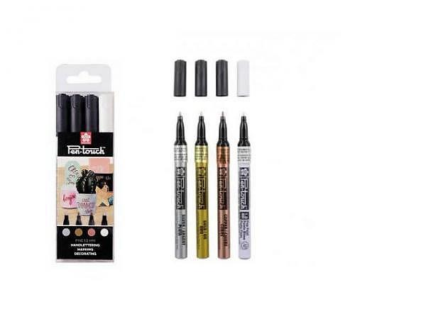 Filzstift Pen-Touch Marker Fine 1mm 4er Set Metallic