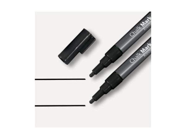Filzstift Sigel Kreidemarker 1-2mm schwarz, 2er-Set