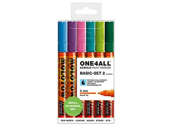 Filzstift Molotow One4all 127HS 6er Set Basic 2, 2mm rund
