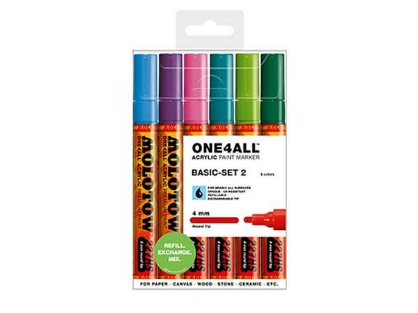 Filzstift Molotow One4all 227HS 6er Set Basic 2, 4mm