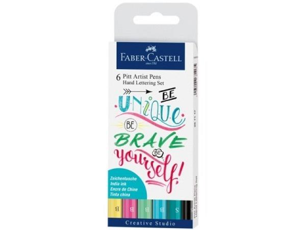 Filzstift Faber-Castell Pitt Artist Pen Handlettering 6er Pastell Set