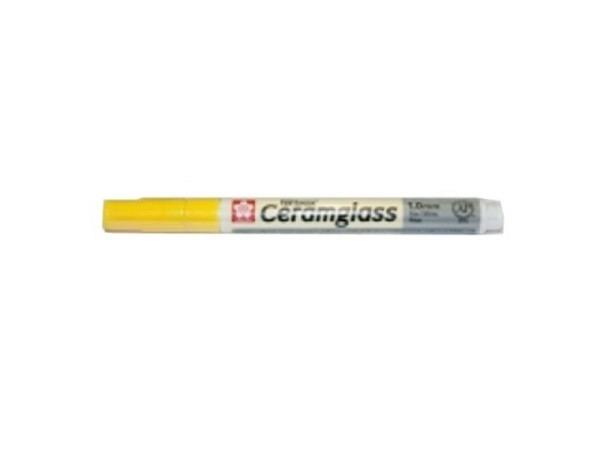 Filzstift Sakura Pentouch Ceramglass gelb 1mm, für direktes Malen au..