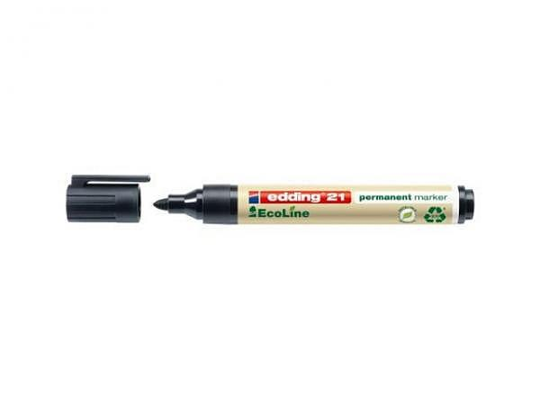 Filzstift Edding 21 Ecoline schwarz, Strichbreite 1,5-3mm