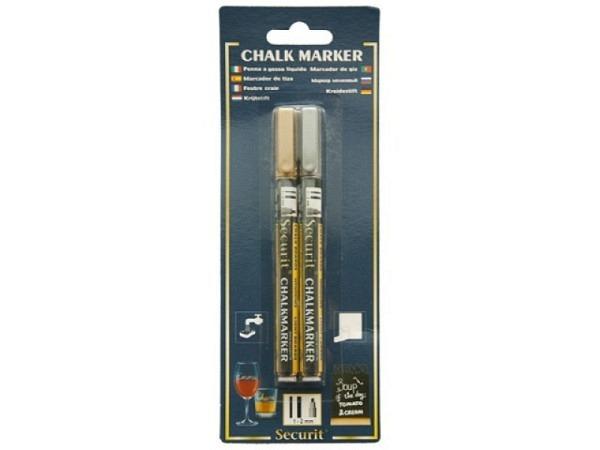 Filzstift Securit Kreidemarker SMA100 Set gold und silber