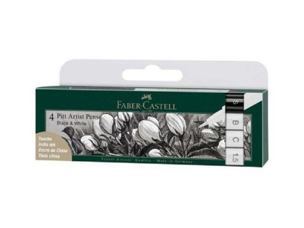 Filzstift Faber-Castell Pitt Artist Pen 4er Set Black and White