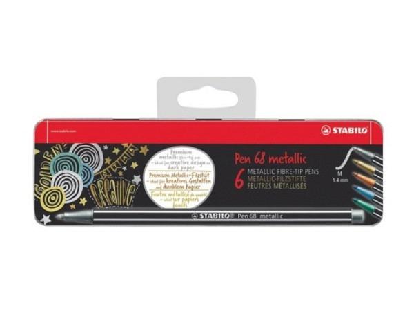 Filzstift Stabilo Pen 68 Metallic Set 6er Metalletui