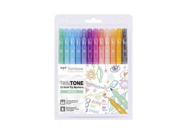 Filzstift Tombow TwinTone Pastel Colors 12er Set