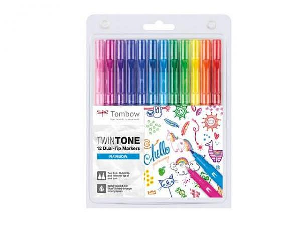 Filzstift Tombow TwinTone Rainbow Colors 12er Set