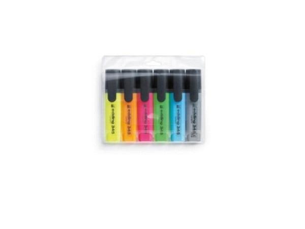 Leuchtstift Edding 345 auch für Faxpapier, Set mit 6 Farben