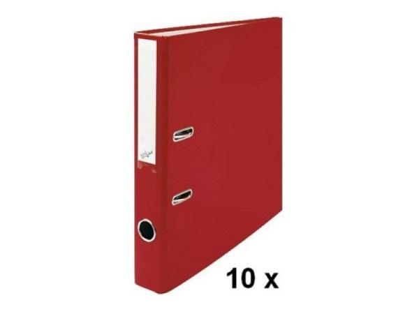 Ordner Büroline A4 2Ring 4cm rot Sparpaket mit 10Stk. in Kartonbox,  solider Kunststoff-Überzug,