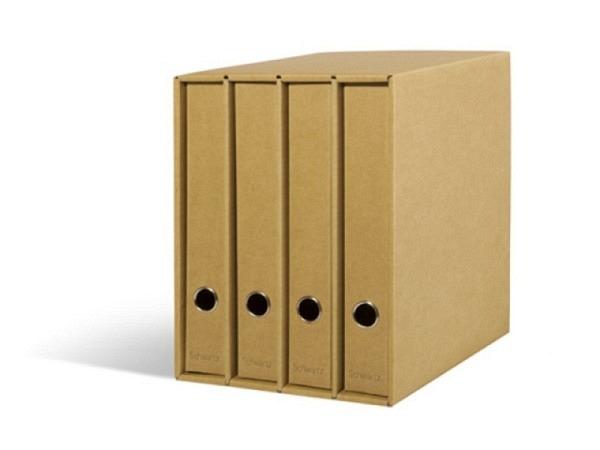 Ringbuch Schwartz Kraftpapier 4er-Box mit Schuber, A4