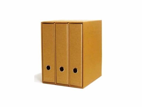 Ringbuch Schwartz Kraftpapier 3er-Box mit Schuber, A4