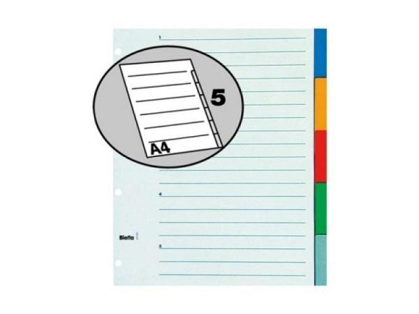 Register Biella XL Kunststoff farbig A4 übergross 5tlg