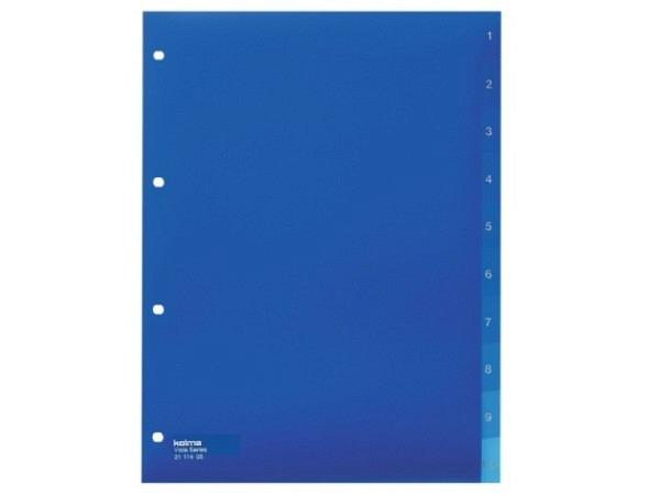 Register Kolma Kunststoff Vista transparent blau A4 1-10