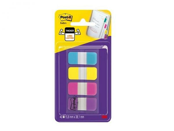 Reiter Post-it Index Strong Schmal 16x38mm türkis, gelb, pink und lila