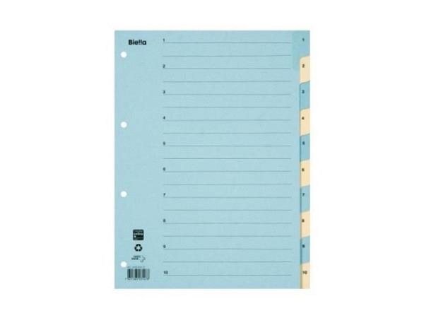 Register Biella Karton gelb/blau A4 1-10