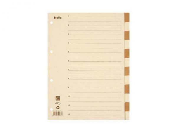 Register Biella Karton beige/braun A4 12tlg,